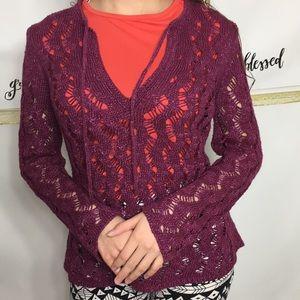 Loft Berry Crochet V-Neck Sweater with ,